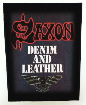 Saxon - Denim and Leather backpatch (standard size)